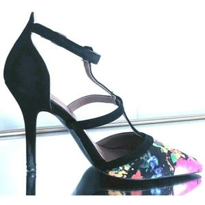 Qupid High Heels Shoes Floral Strappy Multicolored